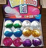 SET OF 12 BALLS- 65 MM Hi Bounce Glitter Ball
