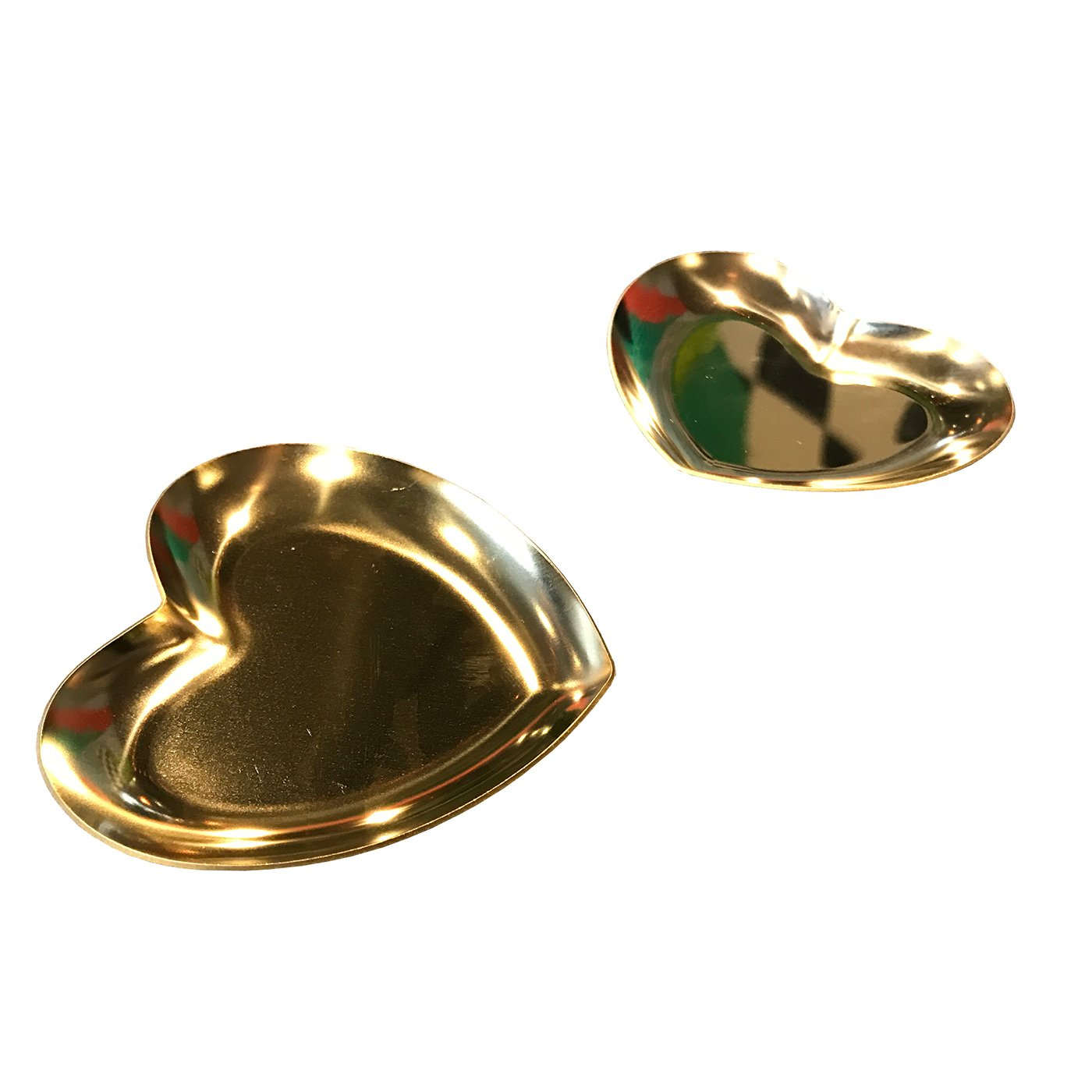 2 Pack Gold Dishes ,heart storage tray dish plate for Jewelry container with love memory (Gold)