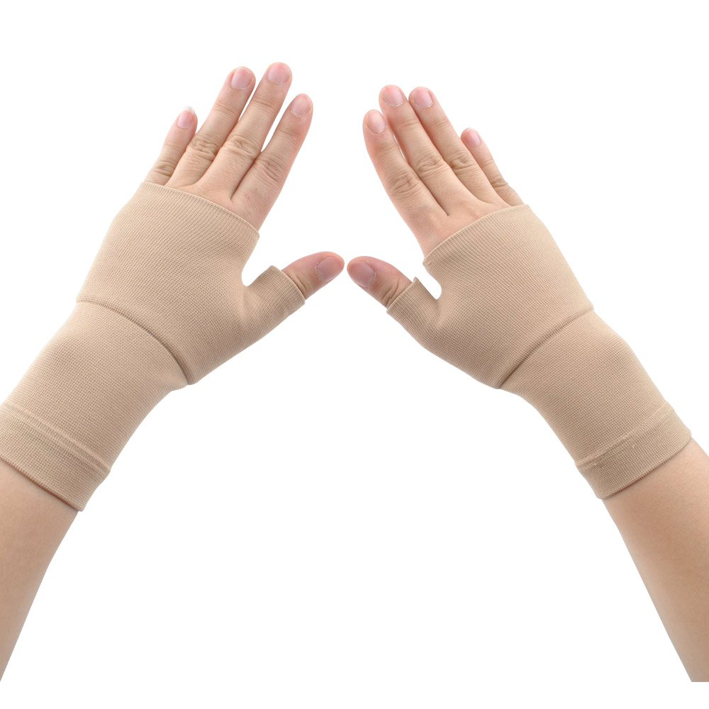Compression Arthritis Gloves (1 Pair) for Carpal Tunnel, Computer Typing,Athletes/Sports Cycling,Play Tennis Basketball Wrist Pain and Fatigue, and Arthritis (Nude, M)