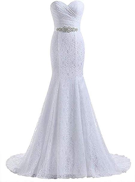 Amazon.com: Beautyprom - Vestido de novia para mujer, encaje ...