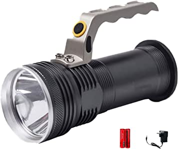 Super Bright Torch Searchlight Handheld AUSELECT Portable LED Spotlight USB Rechargeable Flashlight Aluminum Alloy for Mining,Camping, Hiking, Fishing (Black)