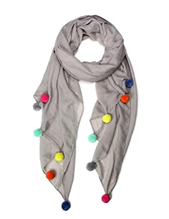 6a54fb7809ea Image Unavailable. Image not available for. Color  Marcus Adler Pom Pom  Grey Scarves