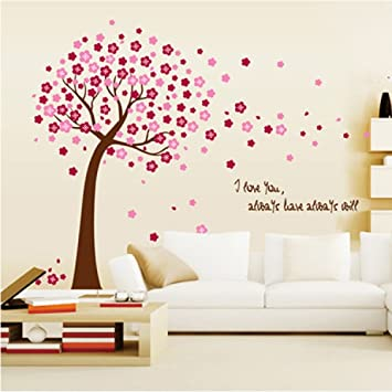 Amazoncom Amaonm Removable PVC Pink Cherry Blossom Tree - Wall stickers for girlspink cherry blossom tree with birds wall stickers girls bedroom