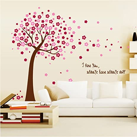 Amaonm Removable PVC Pink Cherry Blossom Tree U0026 Flowers Wall Decals DIY  Home Art Decor Wall Part 96