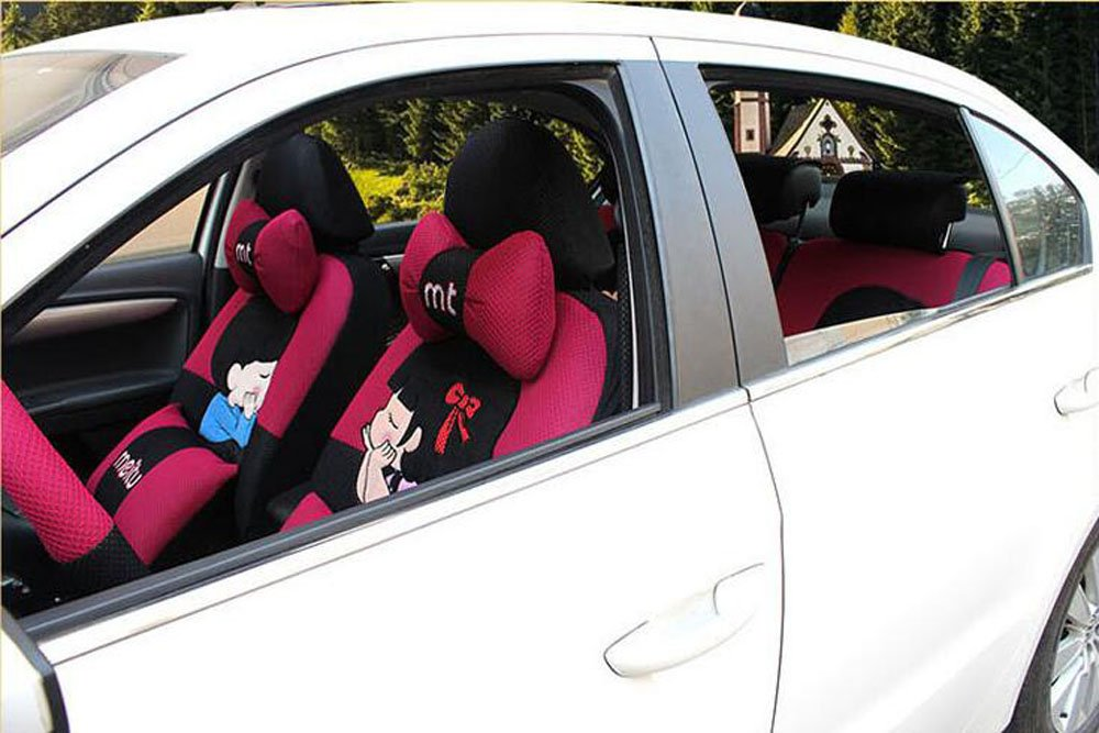 20pcs/SET new 2016 luxury cartoon Lover Seat Covers for cars Front & Back car covers four seasons Universal car seat cover car interior rose & Black V5610 by Maimai88 (Image #2)
