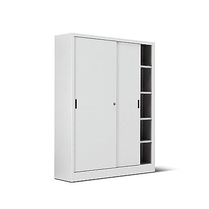 Armadio In Ferro Con Serratura.Italfrom Armadio In Metallo Bianco Per Ufficio Con Porte Scorrevoli