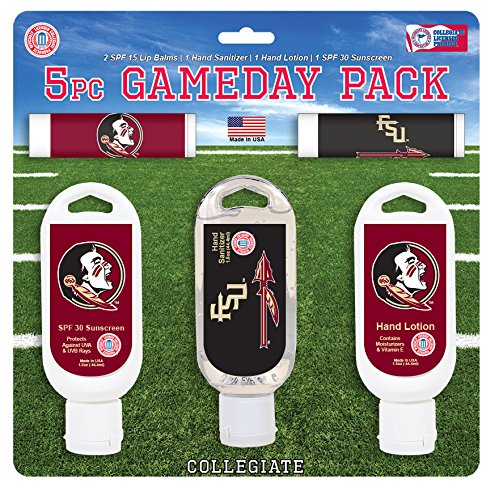 Worthy Promo NCAA Florida State Seminoles 5-Piece Game Day Pack with 2 Lip Balms, 1 Hand Lotion, 1 Hand Sanitizer, 1 SPF 30 Sport - Christmas Florida State Stocking Seminoles