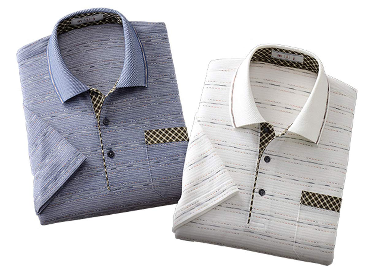 mij/エムアイジェイ 日本製かすり糸使用ジャカード半袖ポロシャツ2色組(IW-0004) (L) B00WKM56V4  L