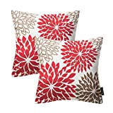 PHANTOSCOPE New Living Series Decorative Throw Pillow Cushion Cover Set of 2 (18'' x 18'', Dahlia Red)