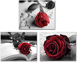 """Vintage Style Black and White Painting Red Rose Wall Art Painting Set of 3 (8""""X10"""" Canvas Picture) Modern Wall Art Decor Flower Art Paint for Bedroom Living Room Poster Home Decor Unframe"""