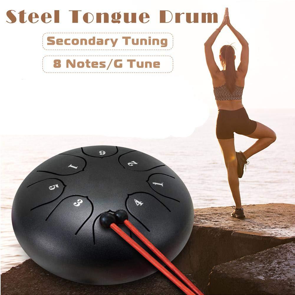 1 Set di Adesivi Plettri per Dita awhao Tongue Drum Steel Pan Tamburo a 8 Toni 6 in Acciaio per Linguetta C Chiave Strumento a percussione con Borsa per Il Trasporto e Mazze