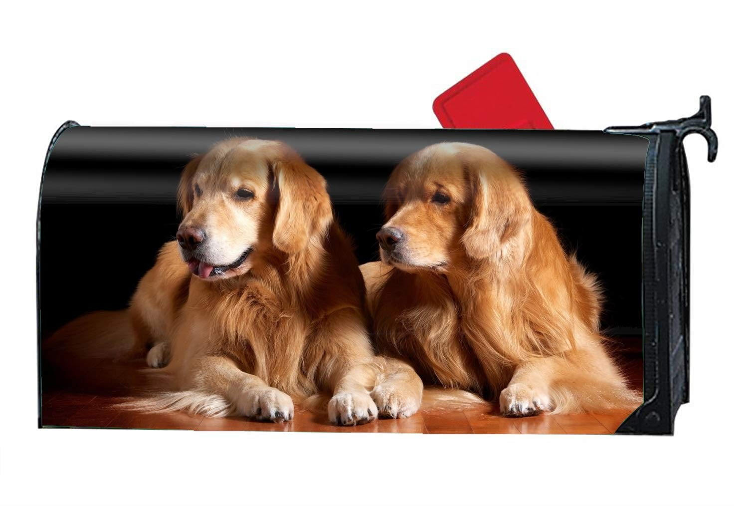Taocaihop Animal Golden Retriever Dogs Puppy Mailbox Cover - Mailbox Makeover - Magnetic Cover 9'' W x 21'' L