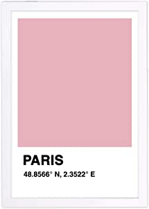 "Wynwood Studio Skylines Framed Wall Art Prints 'Paris Color Swatch' European Cities Home Décor, 13"" x 19"", Pink, White"