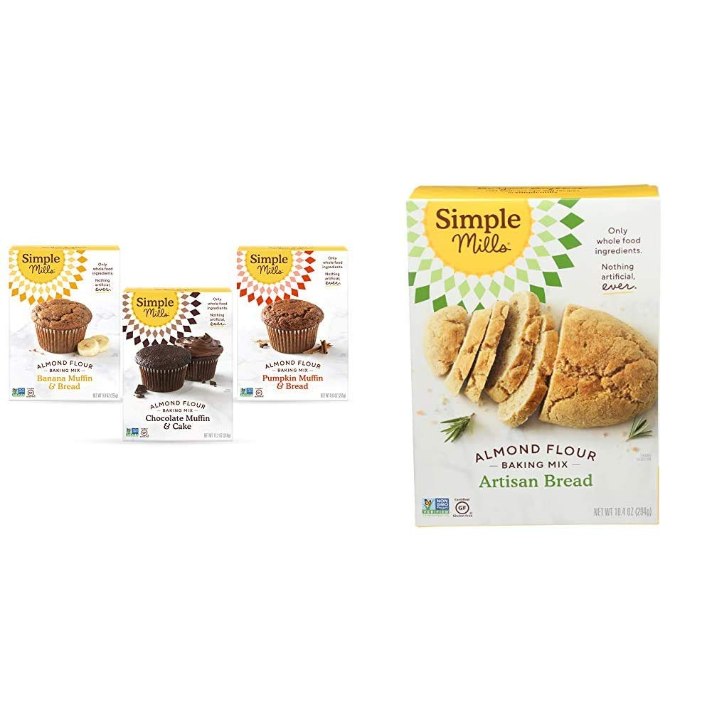 Simple Mills, Baking Mix Variety Pack, Banana Muffin & Bread, Chocolate Muffin & Cake, Pumpkin Muffin & Bread Variety Pack, 3 Count & Almond Flour Baking Mix, Gluten Free Artisan Bread Mix