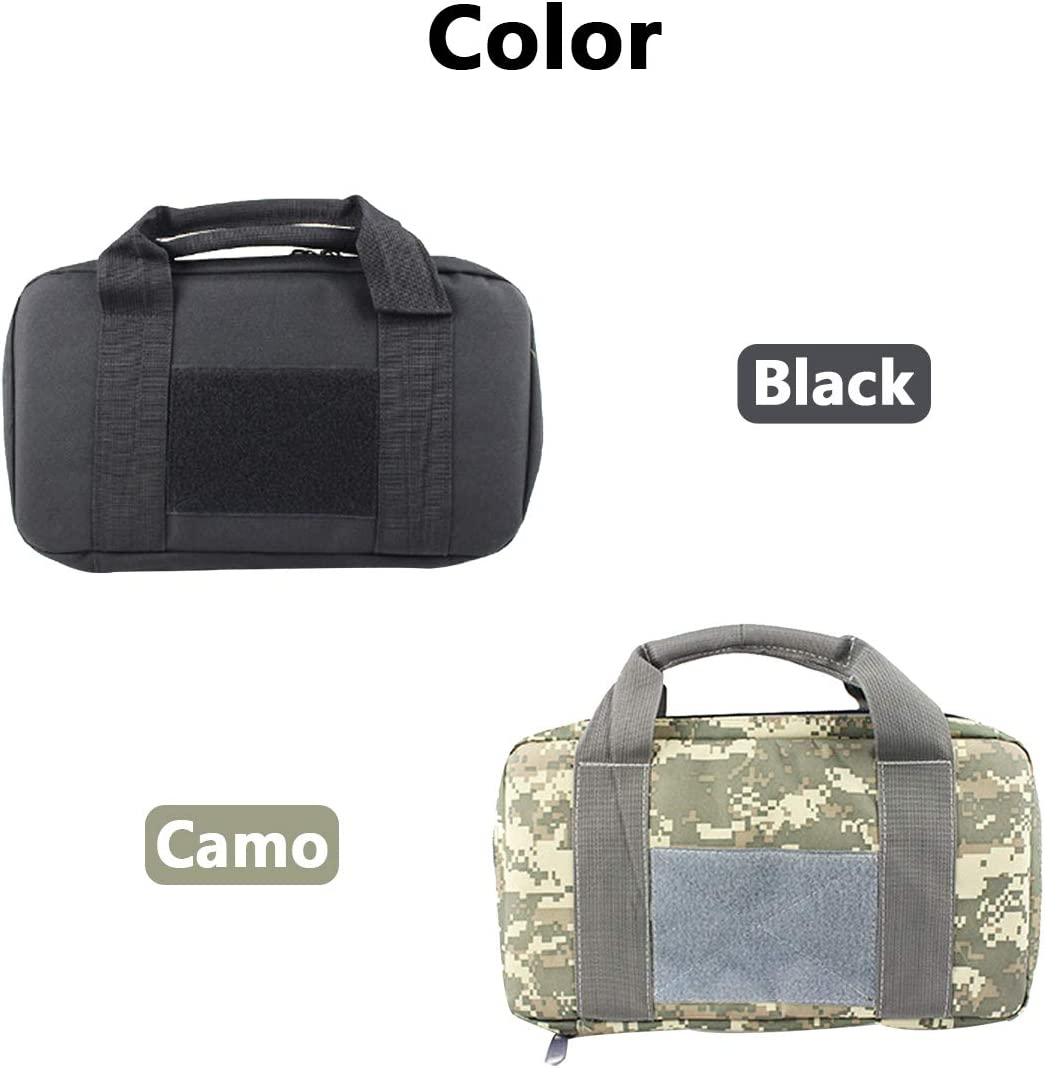 Shooting Range Sports Multifunctional Pistol Bag Thickened and Durable Dirtproof Handgun Duffle Bag with Enhanced Handle and Magazine Pouch-for Hunting