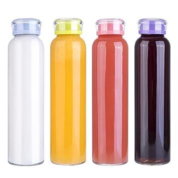 MIU COLOR 4Pack Botella de Agua de Cristal Zumo Botella de Leche Botella de Vidrio