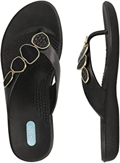 product image for Myla Flip Flop Sandal Shoes by OkaB Color Licorice with Black Reptile Strand
