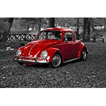 LAMINATED 36x24 Poster: Vw Beetle Bug Vintage Vehicle Old Retro Transportation Car Volkswagen Drive Red