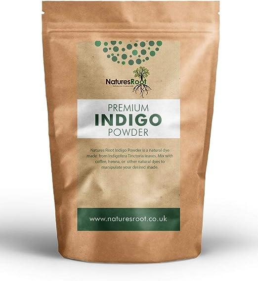 Natures Root Premium Indigo Powder (Indigofera Tinctoria) - Tinte natural para el cabello