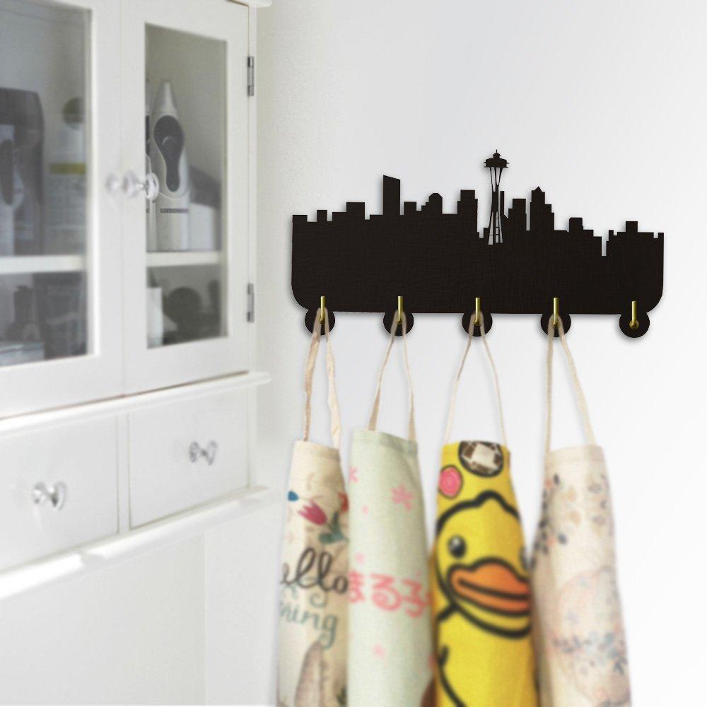 America Seattle Skyline Tourist Attraction Wall Hooks Coat Hanger Household Decor Modern Wall Decor Bedroom Bathroom Door Clothes Robe Towel Hooks