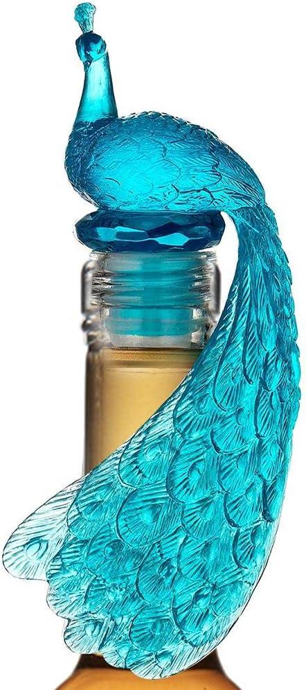 Tovip Silicone Wine Bottle Stopper Peacock Creative Wine Beverage Bottle Seal Bottle Caps Party Decoration Bar Kitchen (Blue)