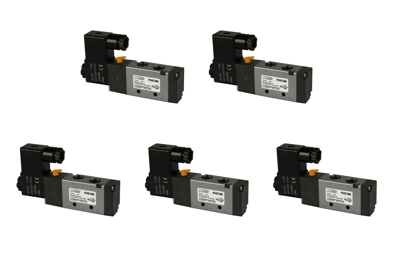 5 Qty 12V DC Solenoid Air Pneumatic Control Pilot Valve 5 Port 4 Way 2 Position 1/4'' NPT by Temco