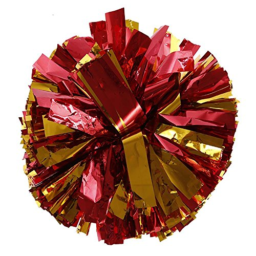 Cheerleading Poms - Metallic Foil Plastic Ring(Red & Golden Yellow)2pcs
