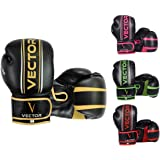 Vector Sports Boxing Gloves for Men Women, Maya Hide Leather Hand Crafted Pro Style for Kickboxing Sparring Heavy Bag Training - Color Golden Pink Green Red - Size 8 10 12 14 16 OZ