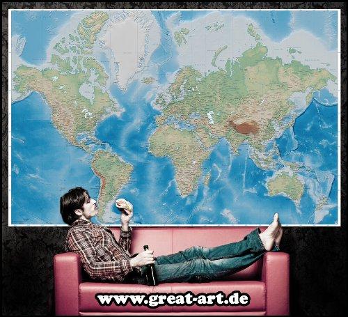 Mappa del mondo fotomurale rilievo mappa quadro xxl for Tappezzeria da parete