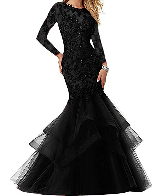 bba16768c0c Image Unavailable. Image not available for. Colour  The Peachess Beaded  Lace Embroidered Prom Dresses Long Mermaid Formal Prom Party Ball Gowns