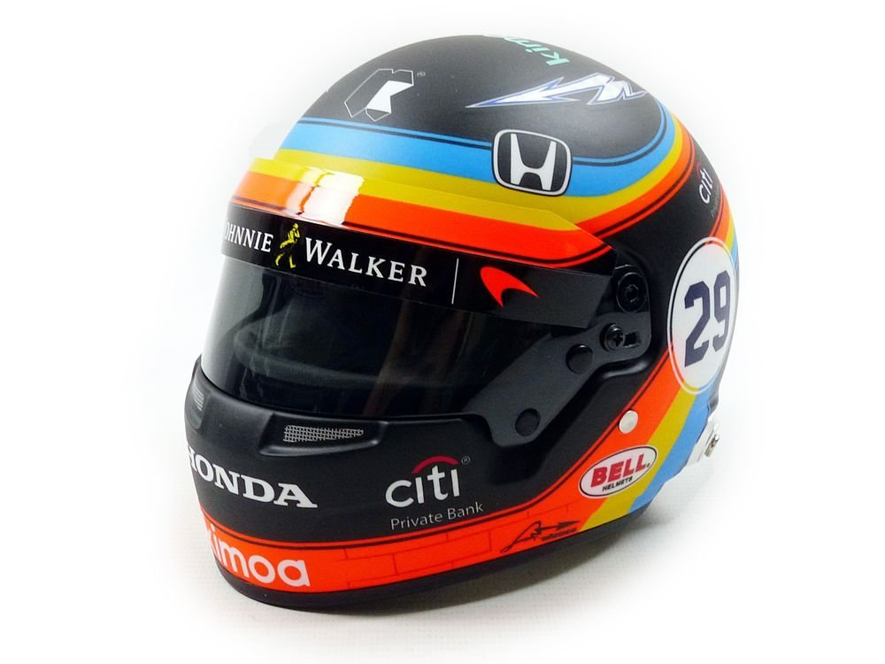 Mini Helmet – F. Alonso 500 2017 Indy, 70131005, Negro/Azul/Naranja, en Miniatura (Escala 1/2
