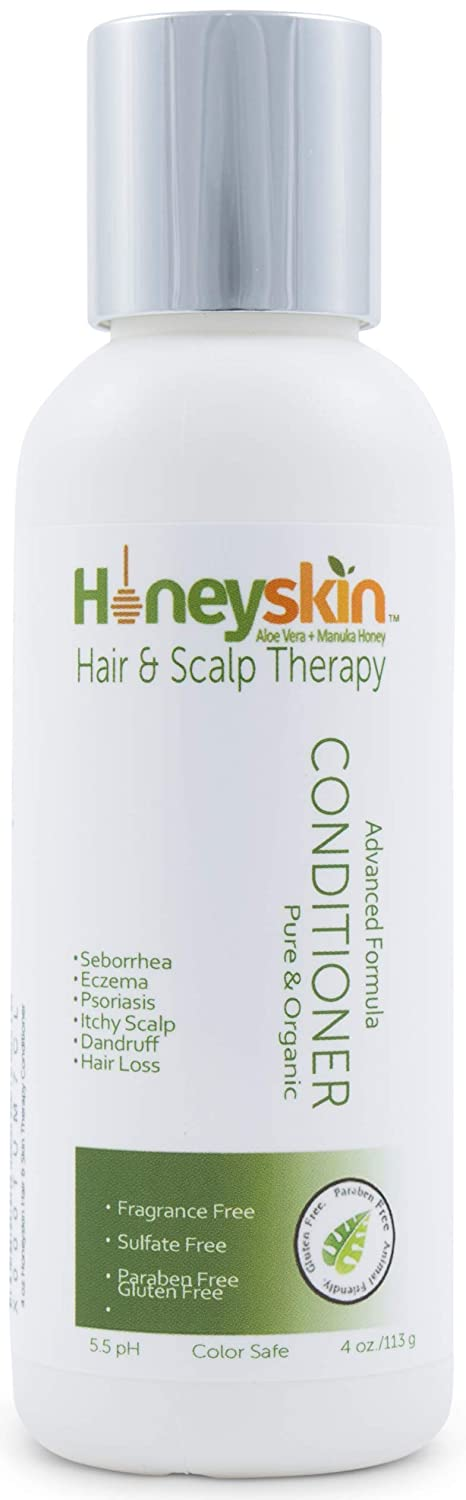 Hair Regrowth Conditioner Aloe Vera - Coconut Oil, Manuka Honey - Scalp Eczema, Psoriasis, Seborrheic Dermatitis Remedy - Itchy Dry, Hair Loss Treatment (4oz)