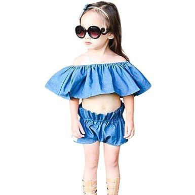 6e373f6ab76d Sunbona 2Pcs Infant Baby Girls Princess Cute Fashion Denim Off Shoulder T  shirt Tops Shorts Pants