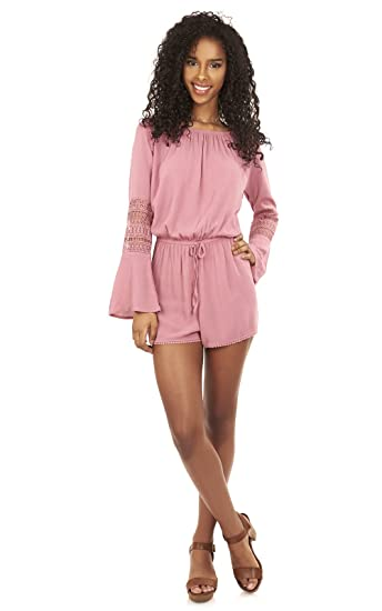 86b8d9e83246 Amazon.com  WallFlower Women s Juniors Off The Shoulder Romper with ...