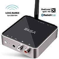 EKSA 5,0 Bluetooth Transmitter und Empfänger 50m Hohe Reichweite 2 in 1 Audio Bluetooth Adapter, aptX Low Latency, Digital Optical Toslink, 3,5mm AUX und RCA Kable, Dual Link