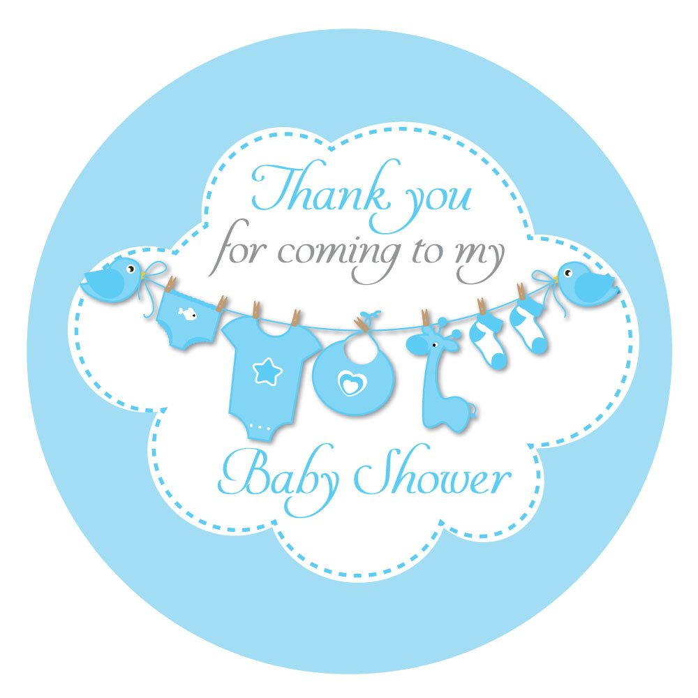 'Thank you for coming to my baby shower' stickers - 60mm in diameter, party bags, Blue, Pink or Yellow (Blue (12 stickers)) StickerZone