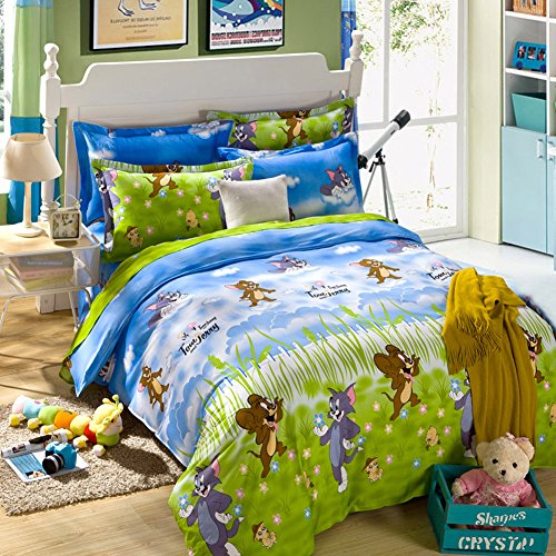 FTSUCQ Cartoon Mouse & Cat Linen Bed Sheets Quilt Covers Bed Mattress Bedding Four-PCS Sets,size-2 by TOP SHOP Home