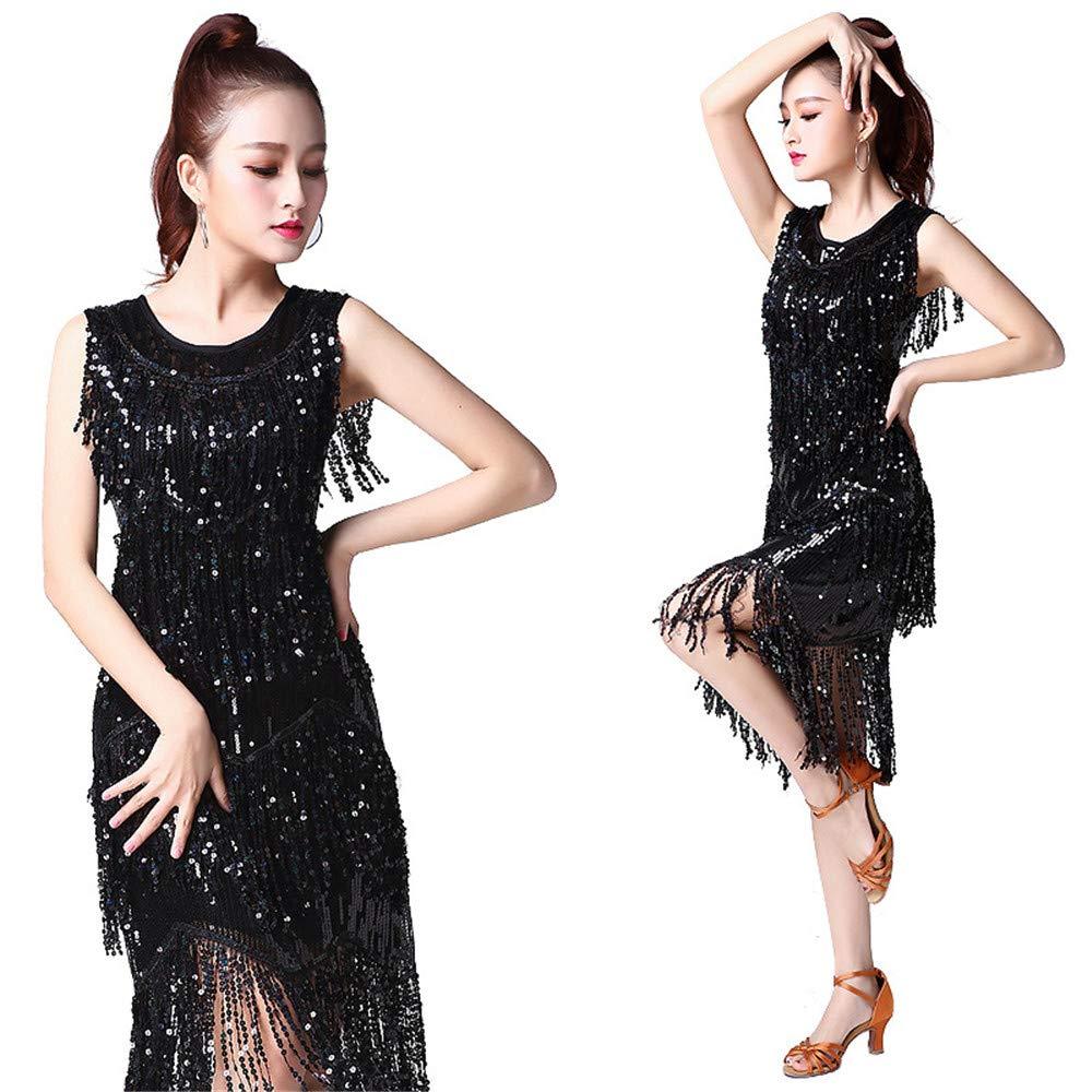 Noir XL CVWG VêteHommests de Danse Latine de Femmes for la Salle de Bal Salsa Samba Tango Concours de Robes de Danse Latine Costumes Swing Robe Rumba