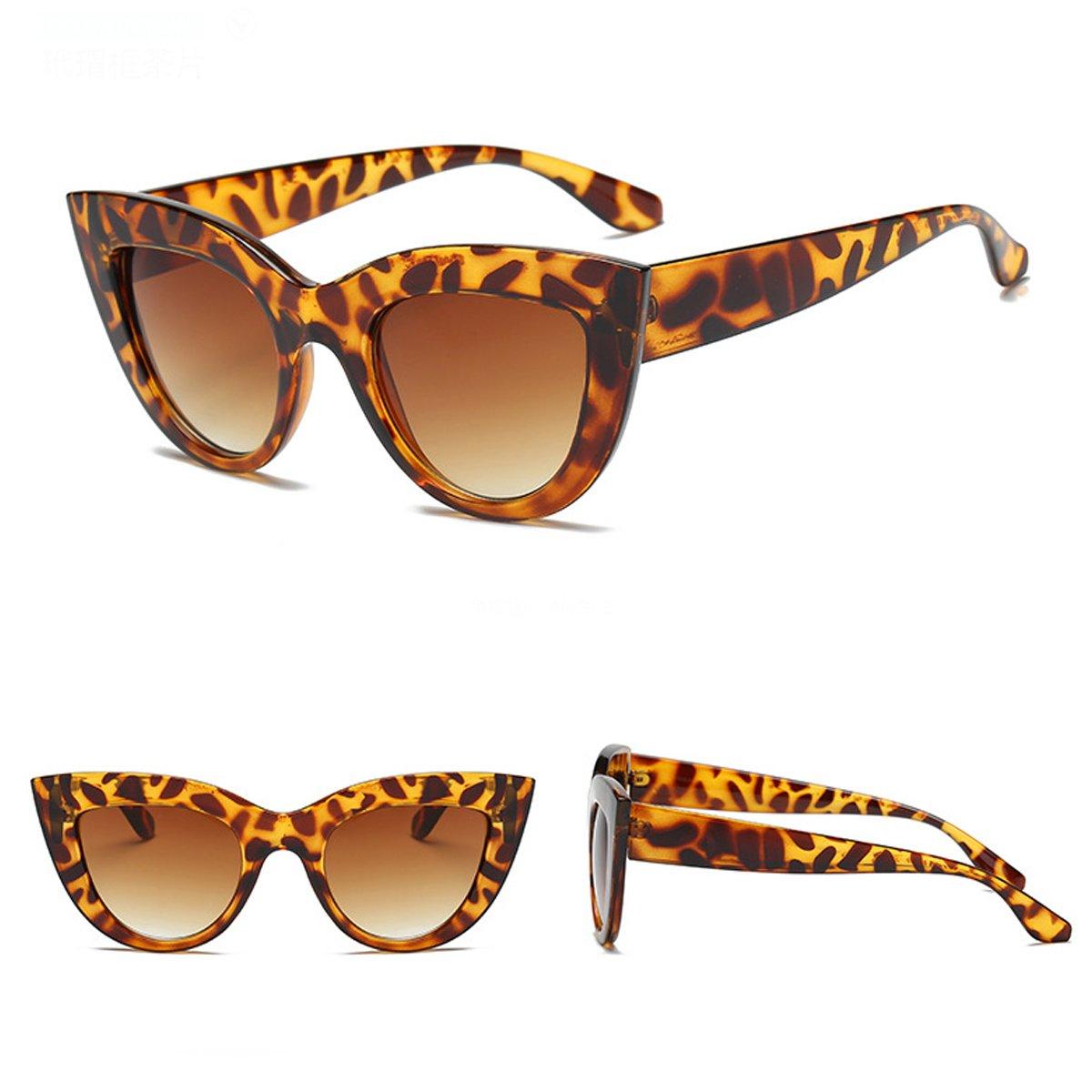 8f6488edc91b Amazon.com: Oversized Square Sunglasses Cat's Eye Sunglasses(Leopard Print  Frame): Clothing