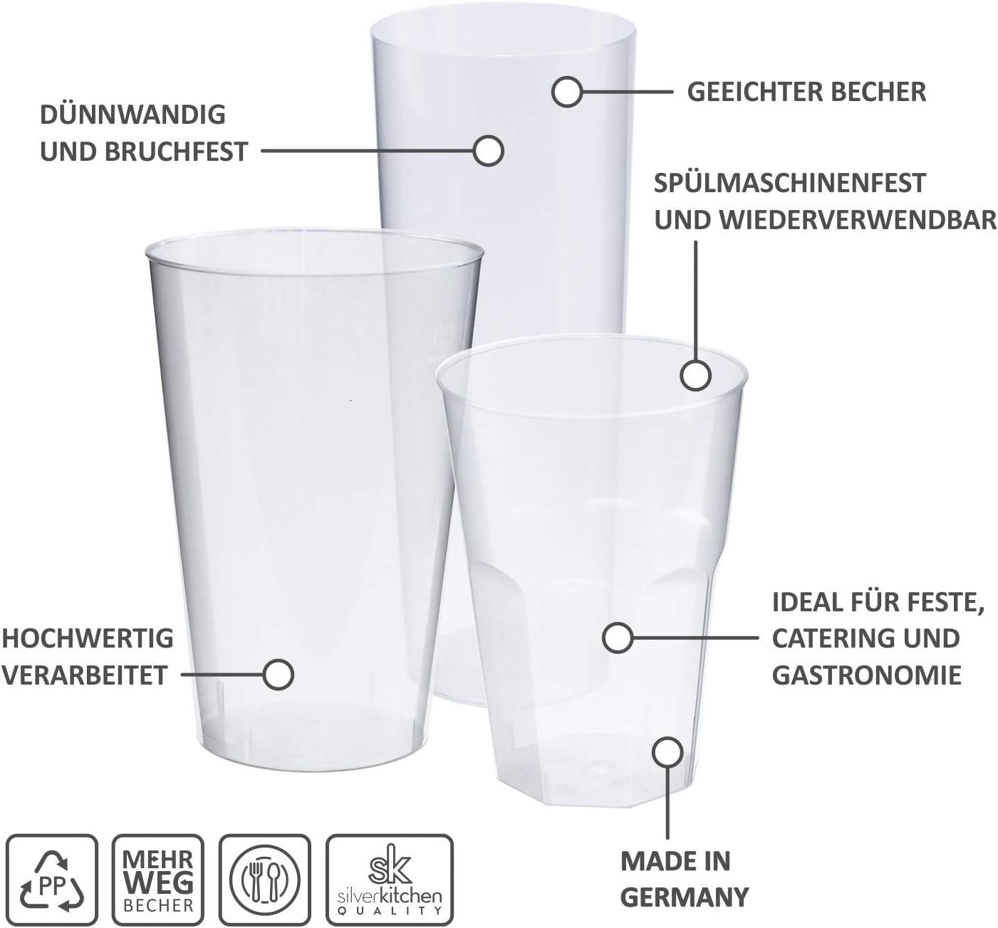 Plastik Trinkbecher alt Silverkitchen 25x Cocktail Becher 200ml transparent Bruchsichere Mehrwegbecher Wiederverwendbar aus PP 6-eckig Made In Germany Grillfest Catering zu Mehrweg
