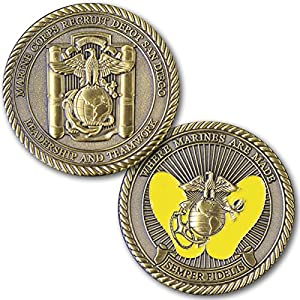 Marine Corps Challenge Coin! Recruit Depot San Diego Challenge Coin, MCRD Yellow Foot Prints! Designed For Marines By Marines! Solid Brass Die Struck Military Coin USMC! by Coins For Anything Inc