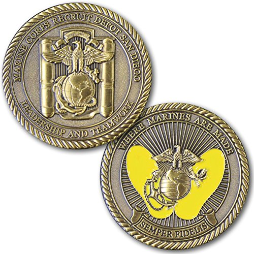 Marine Corps Challenge Coin! Recruit Depot San Diego Challenge Coin, MCRD Yellow Foot Prints! Designed For Marines By Marines! Solid Brass Die Struck Military Coin USMC! Battalion Challenge Coin