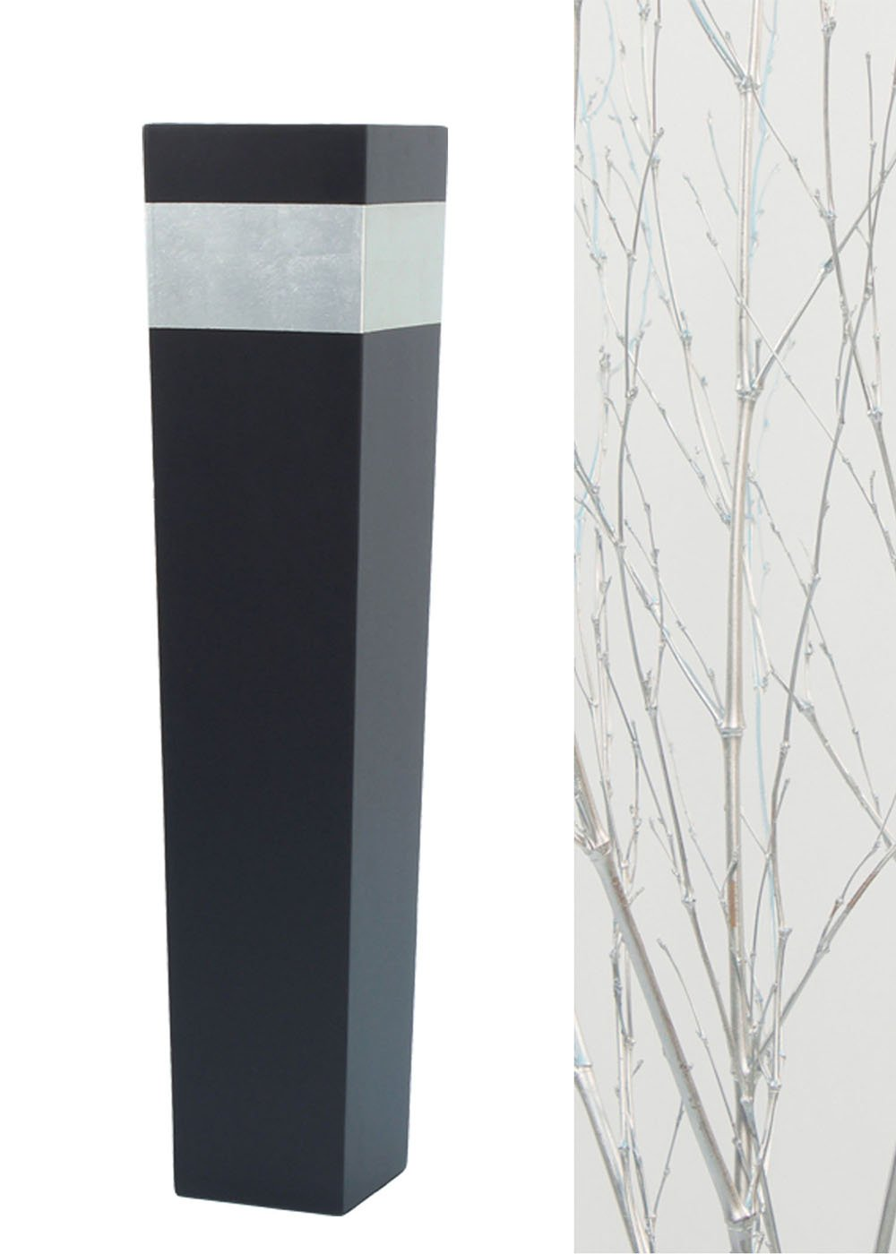 Green Floral Crafts 36'' Tapered Tall Black Floor Vase - Silver Accent & DIY Branches Kit