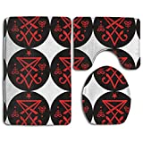 Christian Lucifer Satanic Fashion Bathroom Rug Mats Set 3 Piece Anti-skid Pads Bath Mat + Contour + Toilet Lid Cover