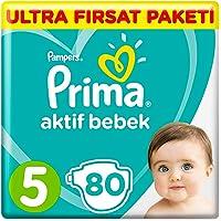 Prima Bebek Bezi Aktif Bebek 5 Beden Junior Ultra Fırsat Paketi, 80 Adet