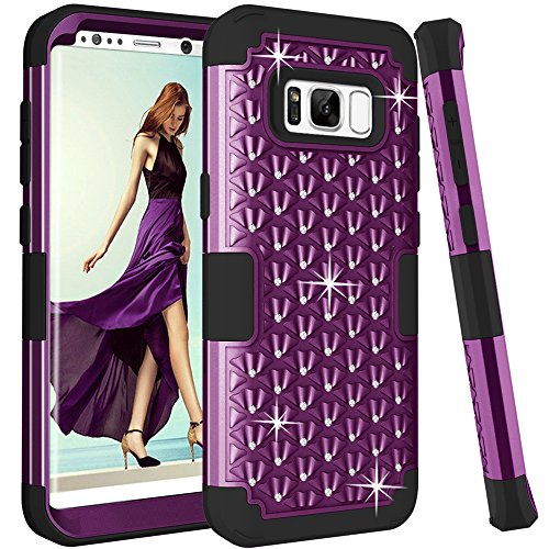 IN [Shiny Bling] & [ diamond] 3 in 1 Premium Slim Lightweight Scratch Resistant Fit Cover with Rhinestone Hard PC+ Soft Silicone Protective Case for Galaxy S 8 (Purple+Black) ()