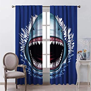 HELLOLEON Shark Heat Insulation Curtain Attack of Open Mouth Sharp Teeth Sea Danger Wildlife Ocean Life Cartoon for Living Room or Bedroom W84 x L84 Inch Royal Blue Teal