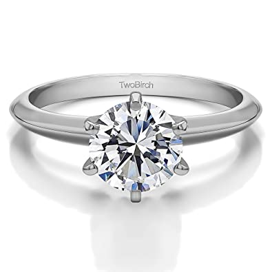 f6c65291c TwoBirch IGI Certified 14k White Gold Lab Created Diamond Solitaire  Engagement Ring (.96 carat