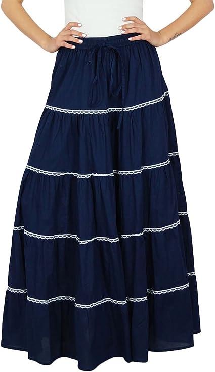 Bimba - Falda de algodón para mujer, estilo bohemio, talla elástica, talla indio: Amazon.es: Ropa y accesorios
