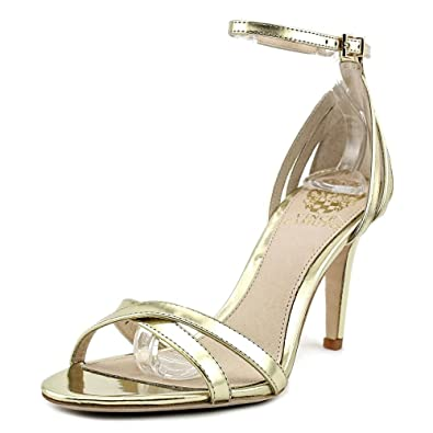 f87535bb49e Vince Camuto Camron Womens Gold Leather Open Toe Criss-Cross Sandal Size 5.5
